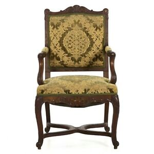 Beautifully Hand Carved Walnut French Antique Upholstered Arm Chair 19th Century