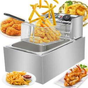 2500w 6l Commercial Electric Deep Fryer Restaurant Stainless Steel 6 3qt