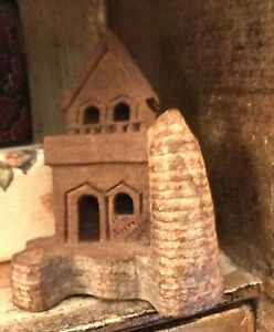 Hand Crafted Brown Wooden House Castle Hand Carved