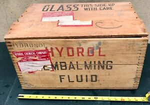 Vintage Mortuary Hydrol Embalming Fluid Wood Crate W Top 1930 S Dovetailed Edges