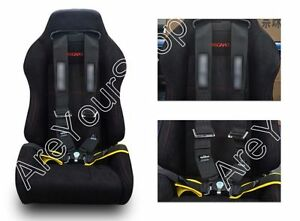 2 8 Shoulder Strap 4 Point Camlock Racing Seat Belts Safety Harness Black E