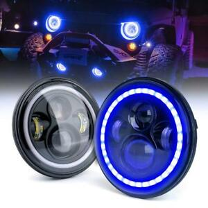 2x 7 Jeep Wrangler Led Headlights Halo Drl Blue Turn Signal Jk Tj Lj 1997 2018