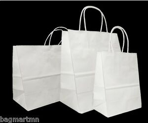 Mixed Medium Sizes White Paper Retail Gift Rope Handle Tote Shopping Bags