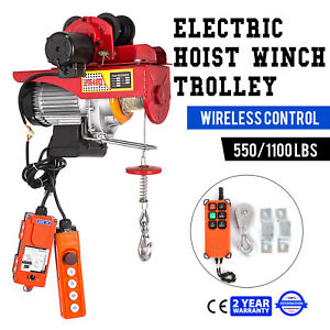 Electric Wire Rope Hoist W Trolley 40ft 550 1100lb Suspending Automatic Durable