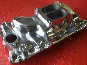 Intake Manifold Polished Aluminum Big Block Chevy Holeshot Dual Plane Oval Port