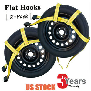 Universal Tow Dolly Basket Straps Adjustable 2x Car Wheel Net With Flat Hooks