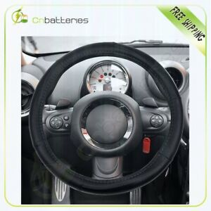 Black Grey Line Pvc Semi Pu Leather 14 5 15 5 Car Steering Wheel Cover