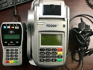 First Data Fd200 Ti Credit Card Terminal Check Reader W pin Pad Paper used