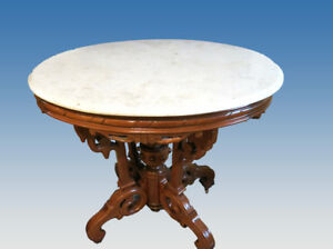 Antique Walnut Oval Marble Top Center Table Attributed To Thomas Brooks