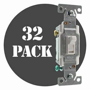 Hubbell Rs315ilwz Lighted Toggle Switch 3 way 15a 120v White 32 pack