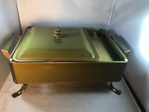 Vintage Chafing Dish Green Gold Metal Enamel 15 x9 x6 Food Warmer