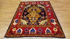 4 X 6 Persian Hamedan Tribal Hand Knotted Wool Blue Red Oriental Rug