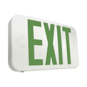 Exit Sign Emergency Commercial Green Letters 25 Watt White Integrated Led Light