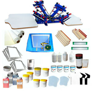 4 Color 2 Station Screen Printing Start Kit Full Color Printing Materials Supply