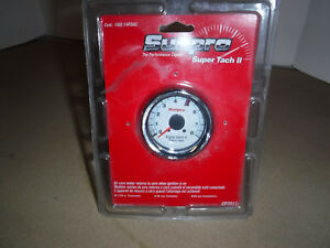 Sunpro Cp7911 2 5 8 Inch Super Tachometer White With Chrome Bezel Nos