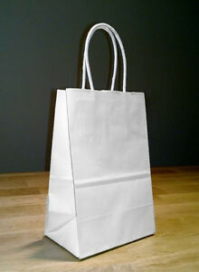 5 5 X 3 25 X 8 5 Small White Paper Shopping Gift Bags With Rope Handles