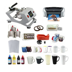 New 110v 3in1 Sublimation Mug Heat Press Epson Printer Ciss Paper Mug Tape Kit