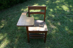 Antique Oak Wooden School Desk And Attached Chair Marked S B V U J C Equipment