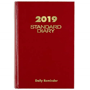 At a glance 2019 Standard Diary Daily Reminder 5 3 4 X 8 1 4 Medium Red