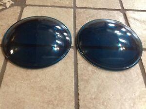Early Pair Cowl Blue Green 3 3 16 Fender Light Lens Glass Auto Vintage