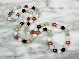 Vintage Chinese Export Natural Multi Color Jadeite Jade 8mm Beaded Necklace