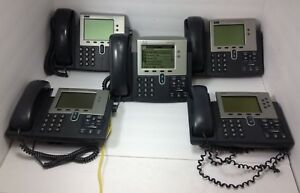 Lot Of 5 Cisco 7941 Lcd Display Ip Business Telephone W Stand Handset
