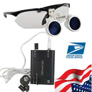 Us Dental Loupes Surgical Medical Binocular Loupe Glasses 2 5x 420mm Head Light