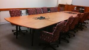 Executive Large 20x5 Conference Table W Data Port 16 Brayton Office Chairs