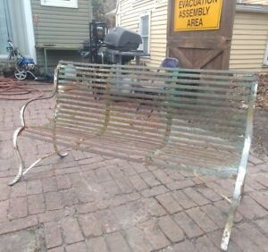 Early Strapped Iron Garden Bench Park Wrought