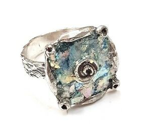 Roman Glass Fragments Silver 925 Ring Ancient 200 B C Bluish Patina Israeli Ste