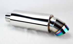 Universal 4 Rainbow Burnt Knife Style Tip Stainless Muffler 3 Inlet