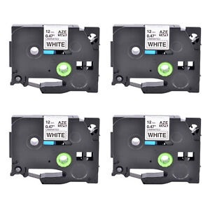 4pk Tz231 Tze231 Black On White Label Tape For Brother P touch Pt h110 12mm 1 2