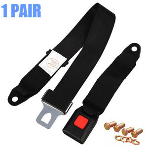 2x Car 2 Point Retractable Seat Belt Lap Belt Safety With Screw Auto Replacement