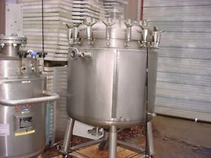 132 Gallon 316l Stainless Steel Jacketed Reactor 500 Liter Fv 57 Psi Mixer