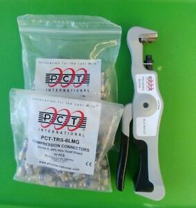 Pct rh ct F Connector Compression Tool Rg6 Rg59 W 2 Bags Of Fittings
