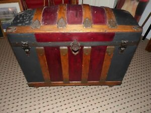 Antique 1800 S Camelback Humpback Dome Top Trunk With All Inside Inserts Trays
