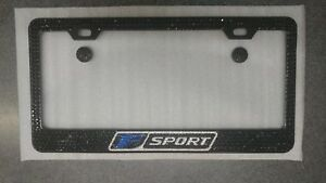 Lexus F Sport Black Stainless Steel License Plate Frame W Black Crystals Blue F