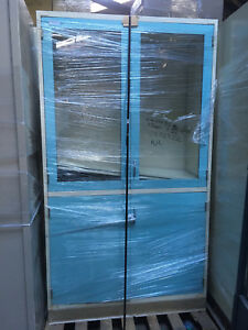 Large Glass Laboratory Storage Cabinet With Metal Base Blue 47 x22 x7