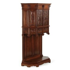 Gothic Revival Carved Walnut Wine Liquor Cabinet Cupboard France C 1880