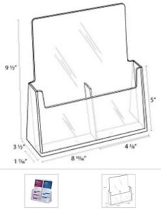 Clear Acrylic 2 pocket Brochure Holder For 4 w Literature 4 Pack Free Shipping