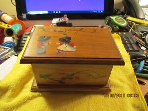 Vintage Hand Built And Painted Dresser Catch All Jewelry Wood Box
