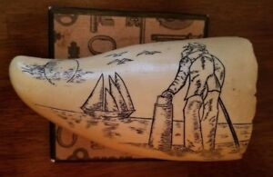 Antique Faux Resin Scrimshaw Whale Tooth Replica