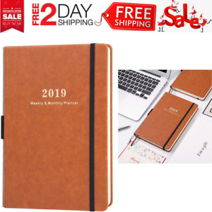 2019 Planner A5 Brown Faux Leather Monthly Yearly Planners Calendar Organizer
