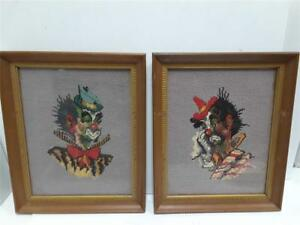 Antique Vintage Needlepoint Needlecraft Clowns Lot Of 2