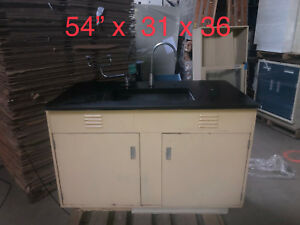 Laboratory End Sink With Metal Cabinerty And Epoxy Basin