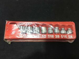 Snap On 209rf 9 Pc 3 8 Drive 12 Point Sae Flank Drive Low Profile Socket Set