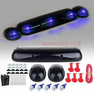 3 Smoke Cab Marker Top Lights W 3528 Blue Led For Chevy Silverado Gmc Sierra