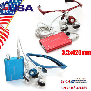 2color Dentist Dental Surgical Loupes 3 5x 420mm With Led Head Light Lamp Us
