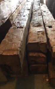 Authentic Hand Hewn Barn Beams Mantel 13 To 14ft Long Garage Kept P Up In Nj