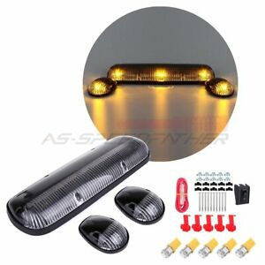3 Clear Cab Marker Top Lights W 194 Amber Led For Chevy Silverado Gmc Sierra